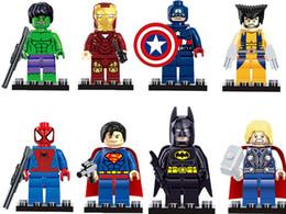 Wholesale Hero Build - DHL Free freight 8pcs Individually Single Sale Marvel Super Heroes Bricks avengers superman hulk Building Blocks Model Bricks Toys figures