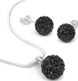 Wholesale Crystal Ball Earrings Sale - new Hot sale!Free shipping 10mm Black Crystal Micro Pave Disco Ball Silver Shamballa Earrings Necklace Set jewelry Wholesale. hot DIY