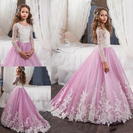 Wholesale Yellow Flower Belt - 2017 New Pink Lovely Long Sleeves Flower Girl Dresses Princess Crew Necl Lace Bodice Appliques Belt Girl's Pageant Dresses with Sweep Train