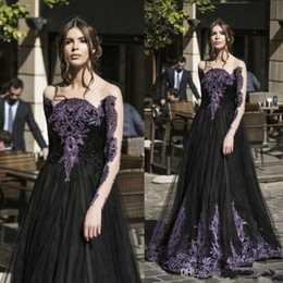 Wholesale Lady Beads For Formal Dress - Gothic Black Spring Prom Dresses Sale Long Sleeves Purple Crystal Beads A Line Tulle Long Formal Evening Party Dress for Ladies
