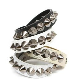 Wholesale Leather Spiked Wristbands Wholesale - Fashion Punk Gothic Rock Leather Rivet Stud Spike Bracelet Cuff Bangle Wristband for women and men