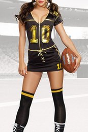 Wholesale American Football Costume - 2017 women tracksuits Sport Role Play Costumes Set Adult Cheerleaders Player Club Football Costume Mini Dress with Stocking LC8963