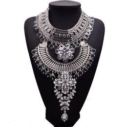 Wholesale Boho Statement Necklace - Vintage Silver Plated Clear Rhinestone Multi-ethnic Women Statement Necklace Twisted Chain Boho Exaggerated Multilayer Pendant Chain Neck