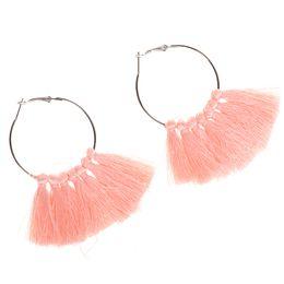 Wholesale Trendy Handmade Earrings - 6Pcs Lot Trendy Bohemia Tassel Earrings Handmade Cotton Drop Earring For Women Jewelry Gifts Blue Pink Colour