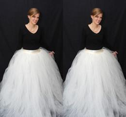 Wholesale Maxi Layered Skirt - White Ball Gown Plus Full Tulle Skirts For Women Custom Made Floor Length Layered Maxi Skirts High Waist Long Skirts Formal Skirt