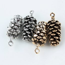 Wholesale Pine Cone Charms - Wholesale 10pcs Zinc Alloy Antique Gold Silver Plated Pine Cone Charms For Women Jewelry Accessories DIY Free Shipping