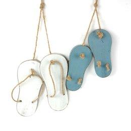 Wholesale Wall Set Art Wood - 1 set shoes hanging decoration wood shoes hemp rope wall art Ornament free shipping