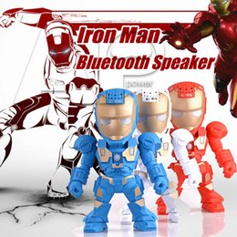 Wholesale Wholesale Speakers Subwoofers - C-89 Bluetooth Mini Speaker Iron Man With LED Flash Light Deformed Arm Figure Robot C89 Portable Mini Wireless Subwoofers TF FM USB Card