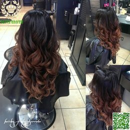 Wholesale Long Human Hair Part Wig - Loose Wave Ombre U Part Human Hair Wigs Middle Upart Indian Glueless Human Hair Lace Front Wig Ombre Two Tone #1B 4