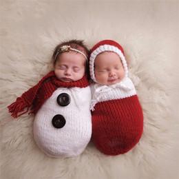 Wholesale Christmas Snowman Costume - Newborn Boys Girls Photography Props Crochet Knitting Costume Christmas Snowman Hat+Sleeping Bag Photo Wrap Matching Accessories