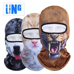Wholesale Masks Custom - Qinglonglin 3D Print Custom Animal Cat Dog Design Balaclava Motorcycle Hat Cycling Cap Veil Snowboard Windproof Full Face Mask