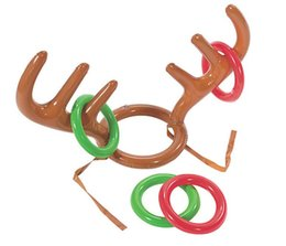 Wholesale kids reindeer antlers - 200pcs Funny Reindeer Antler Hat Ring Toss Christmas Holiday Party Game Supplies Toy Children Kids Christmas Toys