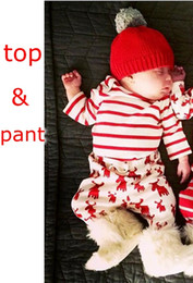 Wholesale Deer Baby Coat - xmas ins infant newborn red white striped hoodies coat outfits & christmas baby full deer print pants 0-3years free ship