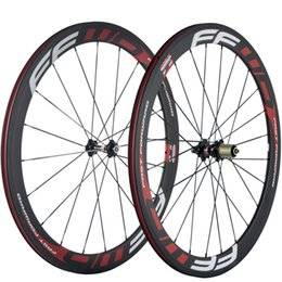 Wholesale Carbon Fiber Rear Wheel - A Pair Full Carbon Road Wheels 50mm Clincher Carbon Fiber Road Bicycle Wheelset 700c 23mm Width Free Shipping
