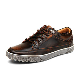 Wholesale Vintage Shoes Sale - High Quality hot sale men vintage genuine leather shoes washing distressed men's fashion flat shoes lace up male casual footwear