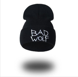 Wholesale Bad Women - hiphop beanies BAD WOLF Letter embroidery hat for men Fashion Beanie winter knitted beanie caps Ski Cap for man and women 300 pcs YYA607
