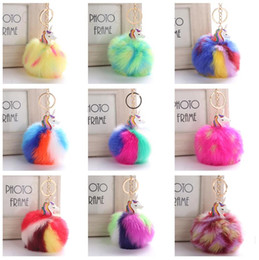 Wholesale Electroplated Rings - Hot sale Hair ball unicorn pendant new electroplating alloy beast pony key ring KR365 Keychains mix order 20 pieces a lot