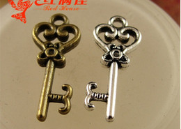 Wholesale Wholesale Decorative Accessories - A3716 9*21MM Antique bronze Retro small metal key pendant, DIY handmade jewelry accessories wholesale decorative key charms for sale