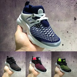 Wholesale Green Color Baby Shoes - Kids Air Presto Knitting Vamp Lightweight Running Shoes Children Athletic Shoes Boys Girls Training Sneaker Baby Sports Shoes Black Green