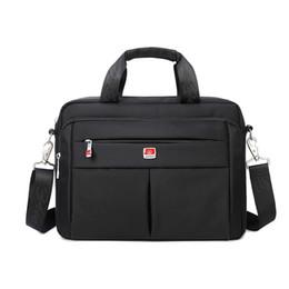 "Wholesale Crocodile Sport - Wholesale- Brand Portable 14"" Laptop Bags Crossbody Briefcase Business Men Bag Bolsas Homme Large Capacity Oxford Briefcases For Men B46"