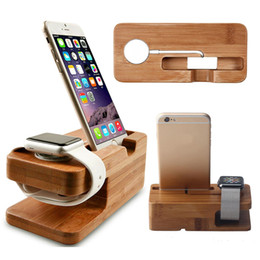 Wholesale Dock Holder Iphone - Hot Brand NEW Bamboo Charging Dock Station Charger Holder Stand For Apple Watch iWatch iPhone I040