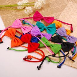 Wholesale Silk Dog Clothes - Polyester Silk Pet Dog clothing Necktie Adjustable lovely Bow Ties Necktie puppy pet bows neck tie pet collars neckties,shipping random