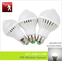Wholesale 5w Infrared - PIR Motion Sensor bulb E27 220V Led Bulb 5W 7W 9W SMD 5730 automatic Smart Detection Led Infrared Body Light Sensor Cool White