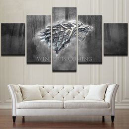 """Wholesale Art Canvas Prints Wholesale - LARGE 60""""x32"""" 5Panels Art Canvas Print Game of Thrones Posters Winter is Coming Wall Home Decor interior (No Frame)"""