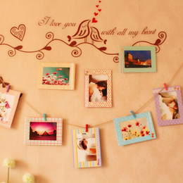 "Wholesale Wall Photos Frames - Fashion Hot Decoration Home Art Wall 8pcs 6"" Hanging Photo Picture Frames + Wood Clips& Rope"
