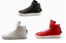 Wholesale Men Street Shoes - Autumn and winter high help sports recreational shoe young male han edition youth fashion shoes white leather street dance shoes