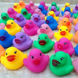 Wholesale Funny Baby Sounds - Baby Bath Toys Shower Water Floating Squeaky Rubber Ducks Colorful Bath Toys Children Water Swimming Funny Newborn Toy 6*5.5cm C2570