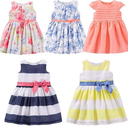 Wholesale Designer Dresses Kids Girls - PrettyBaby Baby girl dress 2016 summer style flower printing Toddler girl dress party new designer kids clothes cute stripe dress