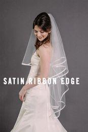 Wholesale Pencil Dresses For Sale - Top Quality Best Sale Romantic wedding veils fingertipe Bridal Veil With Comb For Wedding Dresses White Ivory ribbon
