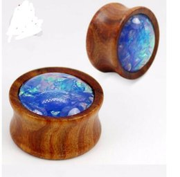 Wholesale Ear Tunnel Piercing Wood - 2 colors 6 size 36pcs lot new arrival fashion wood ear plugs piercing body jewelry whosale ears piercing tunnels flesh guages free shipping