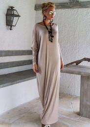 Wholesale Ladies Bohemian Long Dress - New Women Lady Elegant Casual Loose Fashion Long Sleeve Boho Pure Color Blue Grey Black O Neck Beach Long Maxi Dress