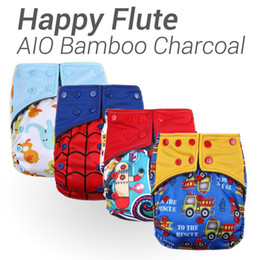 Wholesale Gussets Bamboo Charcoal Nappies - Happy Flute, 10pcs Lot AIO Diaper, Two Sides Pocket Bamboo Charcoal Cloth Diaper, Sewn in Insert Double Gussets Baby Nappy