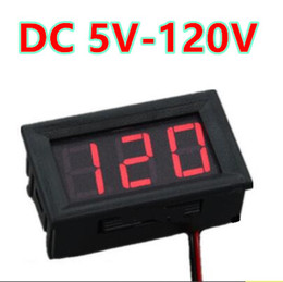 Wholesale Red Digital Dc Voltmeter - 10pcs lot 0.56 inch Red LCD display DC 5-120V Panel Meter Digital volt menter Voltmeter with two wire