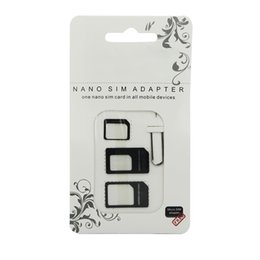 мобильные телефоны стандартная сим-карта Скидка Wholesale-4 in 1 Nano SIM Card Adapters Micro SIM Adapters Standard SIM Card Adapter Eject Pin For  4 4S 5 6 6S All Mobile Phones
