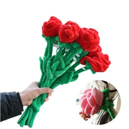 Wholesale toy flower bouquet - Wholesale- 30cm 40cm Creative 2Pcs Lot Roses Bouquets Flower Curtains Buckle Plush Toys DIY Home Wedding Decoration Children Gifts