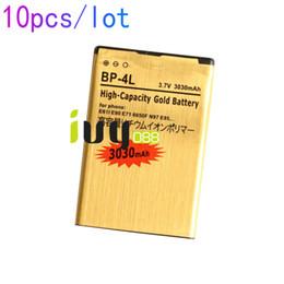 Wholesale E72 Battery - 10pcs lot 3030mAh BP-4L Gold Replacement Battery For Nokia E61i E63 E90 E90i 6650F N97 N97i E95 E71 E71x E72 E73 E75 E52 E55 N810 Batteries