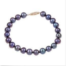 "Wholesale Black Cultured Pearl Bracelet - classic 8-9MM Yellow Gold Black Cultured Pearl Bracelet 7.5""-8"" 14K"