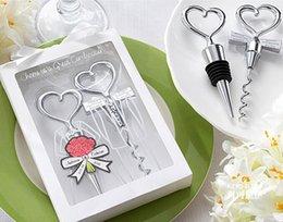 Wholesale Stainless Steel Heart Bottle Stoppers - Wedding Decoaration Love Heart Corkscrew Wine Bottle Opener and Bottle Stoppers Set Wedding Decor Bottle Favors 150sets=300pcs