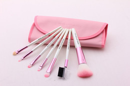 Wholesale Makeup Brush White Leather - HOT ! The new fashion Makeup brushes 7pcs Professional Brush leather bag 3 color