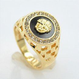 Wholesale High Quality Cz Wedding Rings - brand new high quality CZ diamond superhero mens rings gold filled 2016 fashion figure ring black