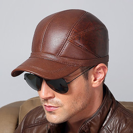 Wholesale Ear Clamps - 2017 Men's Genuine Leather Baseball Caps Winter Autumn Keep Warm with Ear Clamps Protector Men Male Snapback Windproof Dad Hats Anti-cold