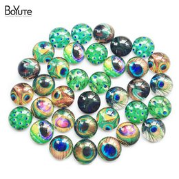 Wholesale Glass Eyes 16mm - BoYuTe (35 pieces lot) 16mm Round Pattern Cabochon Mix Feather Tree Eye Eyeball Mouth Image Glass Cabochon Blank Pendant Cover xl9961