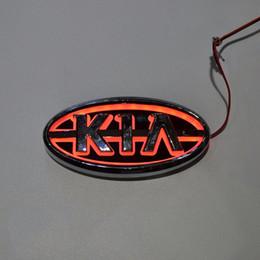 Wholesale Kia Sportage Led Lights - Car Styling 11.9cm*6.2cm 5D Rear Badge Bulb Emblem Logo led Light Sticker Lamp For KIA K5 Sorento Soul Forte Cerato Sportage RIO