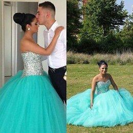 Wholesale Beaded Corset Tops - Mint Princess Wedding Gowns Cheap 2017 Sweetheart Corset Beaded Top Ruched Tulle Ball Gown Bridal Dresses Custom Vestidos De Noiva