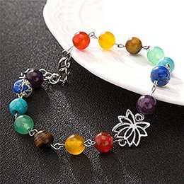 Wholesale Agate Pendant Bead Set - Trend Lotus Charm Pendant Yoga Chakra Bracelets Anklet For Women Chakra Pray Mala Beads Bracelet Foot Jewelry Lover Gift Free DHL B743S