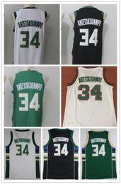 Wholesale Embroidery Basketball Jersey - 2018 New Men's shirt #34 Giannis Antetokounmpo Basketball jersey Antetokounmpo green white Embroidery jerseys shirts Free shipping